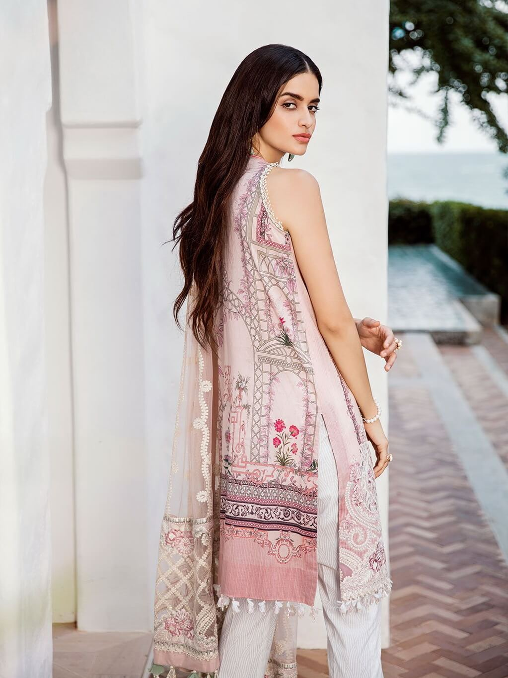 BAROQUE Luxury Lawn Embroidered 3Pc Suit Summer 2019 BQ 02 Pink lcing - FaisalFabrics.pk