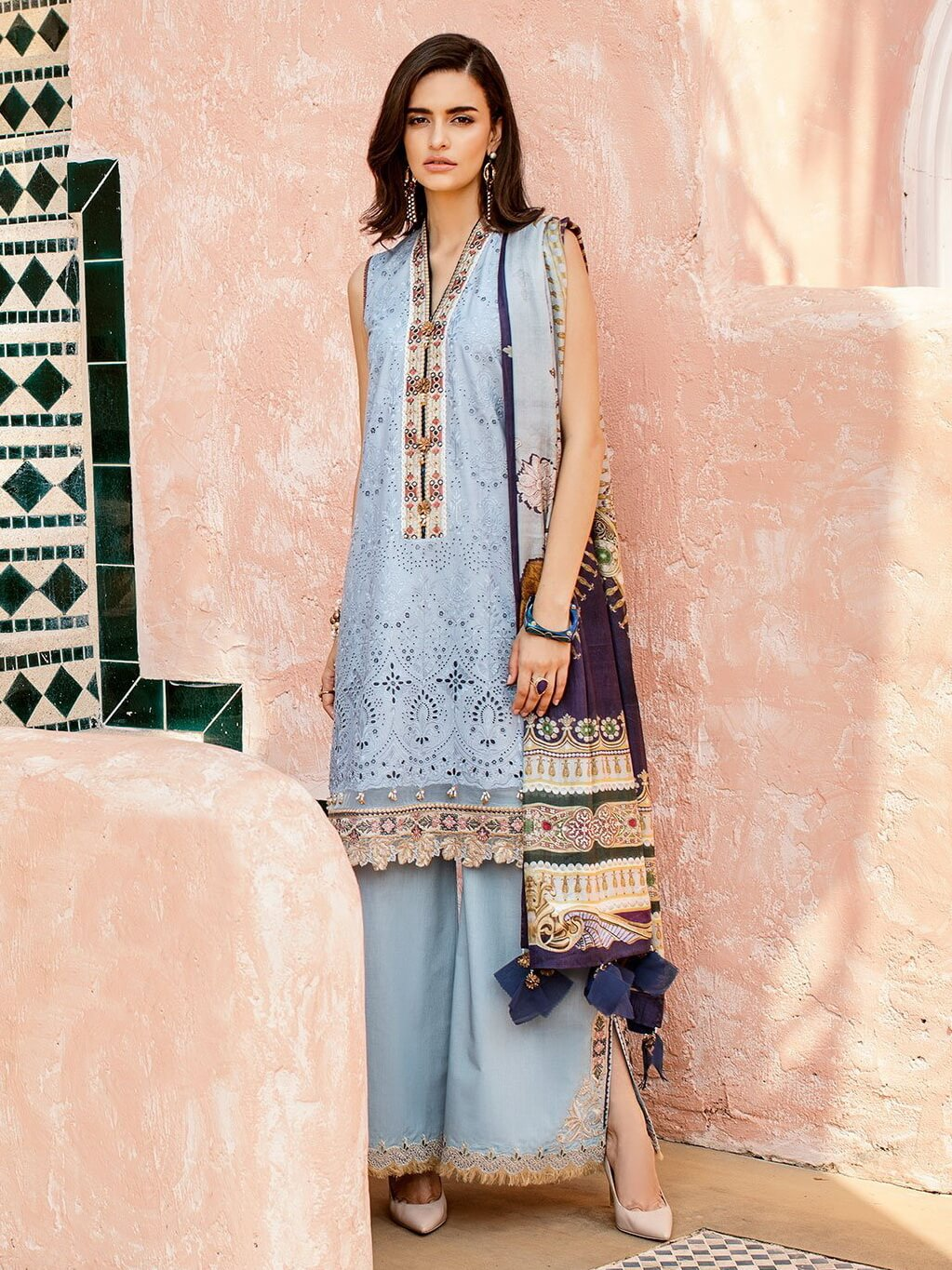 BAROQUE Luxury Lawn Embroidered 3Pc Suit Summer 2019 BQ 05 Blue Jay - FaisalFabrics.pk