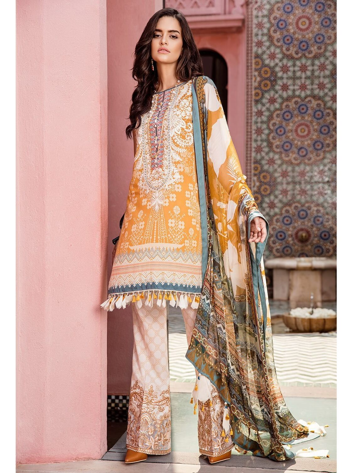 BAROQUE Luxury Lawn Embroidered 3Pc Suit Summer 2019 BQ 08 Morning Glory - FaisalFabrics.pk