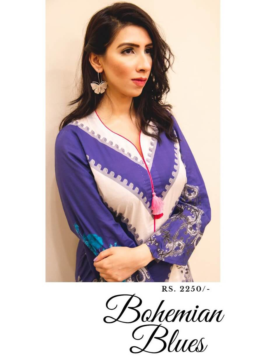 Beloved Premium Printed Lawn Shirt for Summers B-05 Bohemian Blues - FaisalFabrics.pk