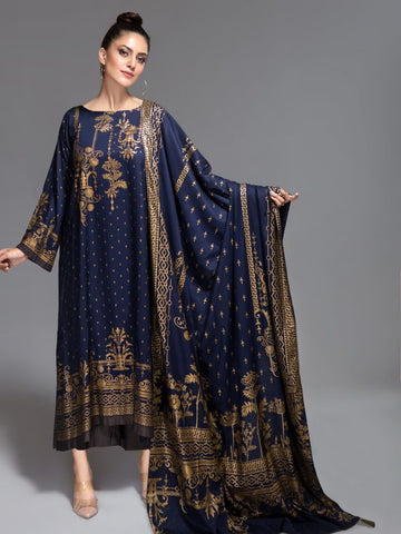 ITTEHAD German Linen 2019 Unstitched Print 3Pc Suit Blue