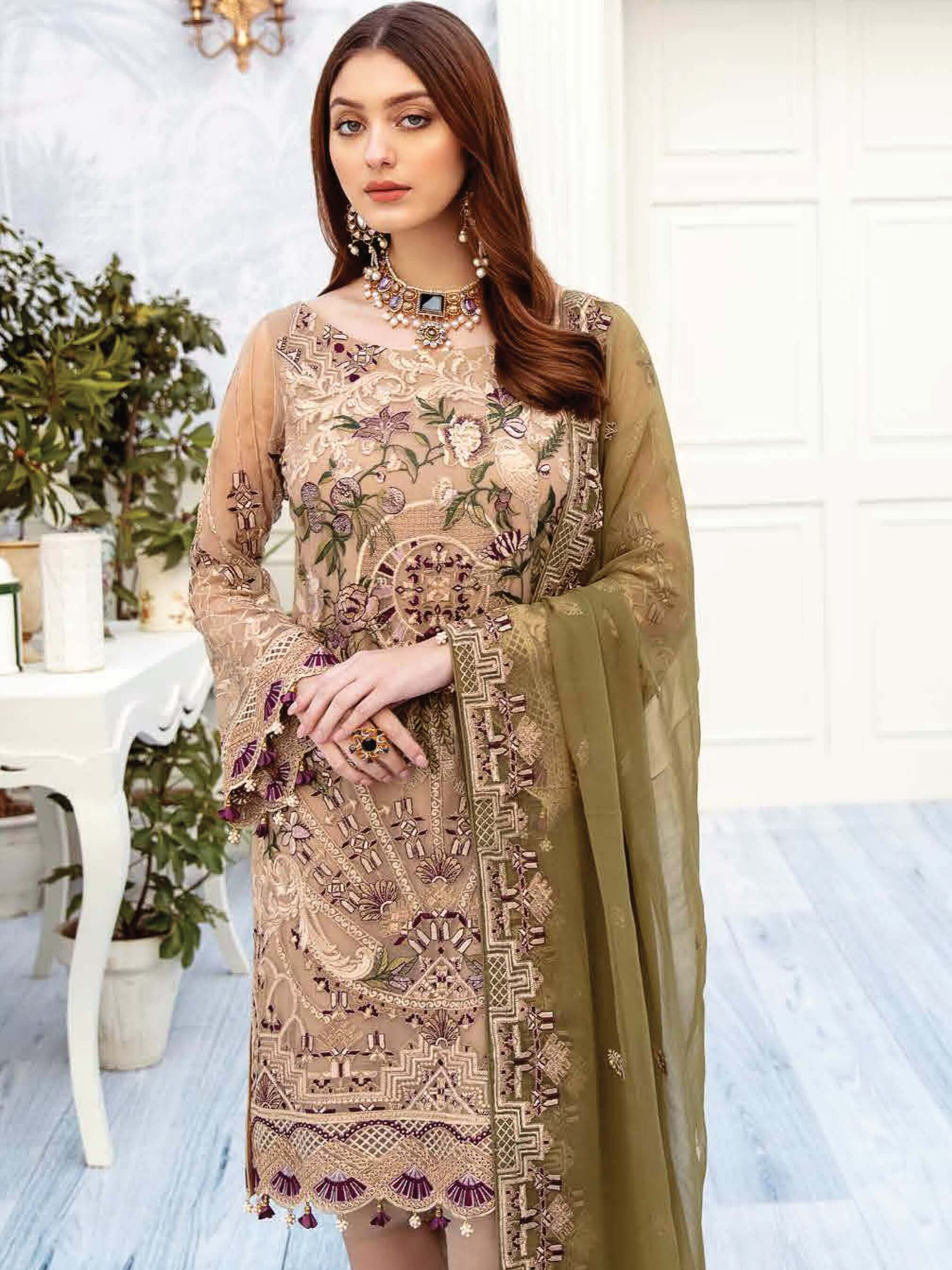 Ramsha Chevron Luxury Chiffon Vol-2 Embroidered 3Pc Suit A-202 - FaisalFabrics.pk