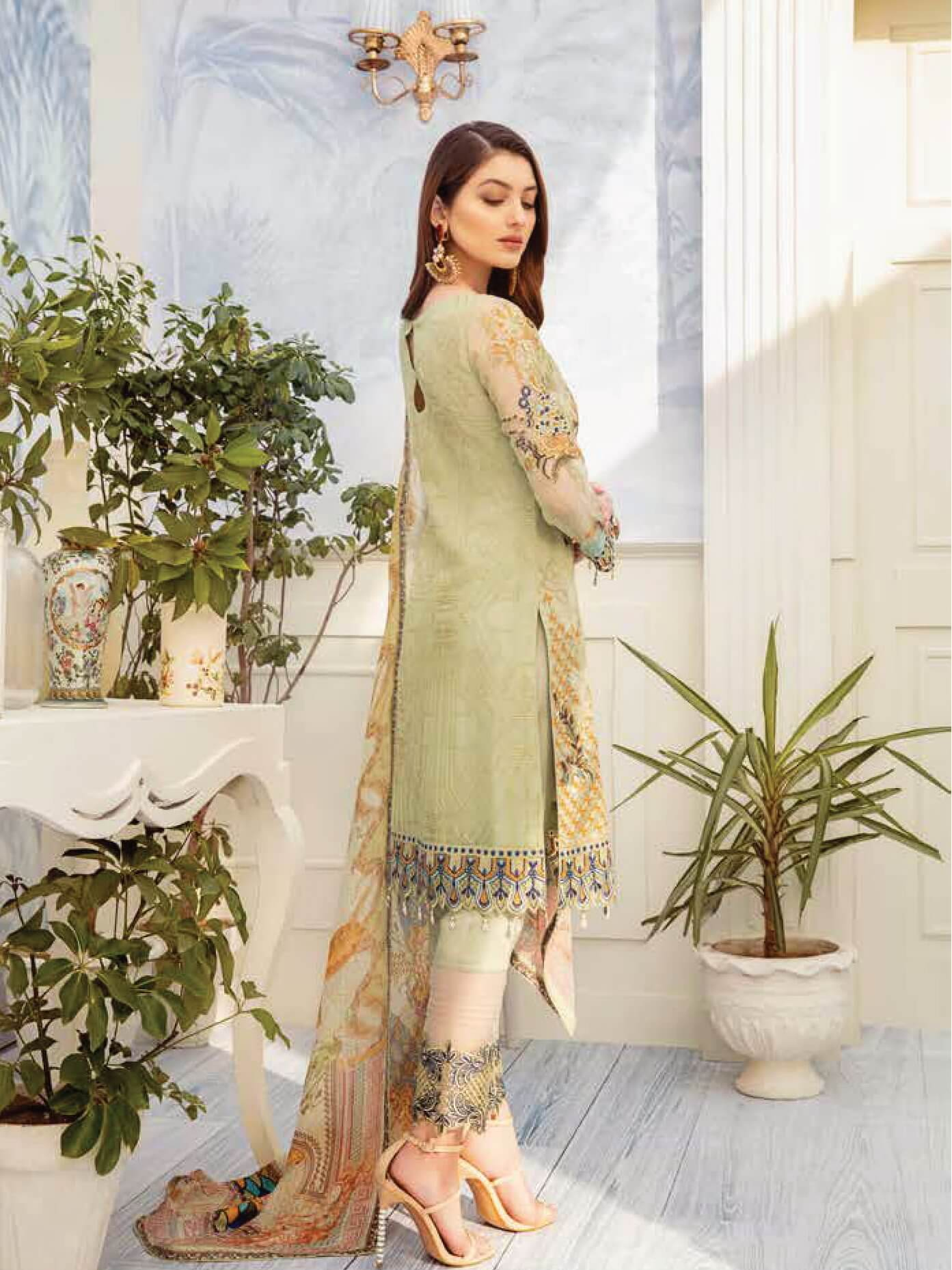 Ramsha Chevron Luxury Chiffon Vol-2 Embroidered 3Pc Suit A-204 - FaisalFabrics.pk