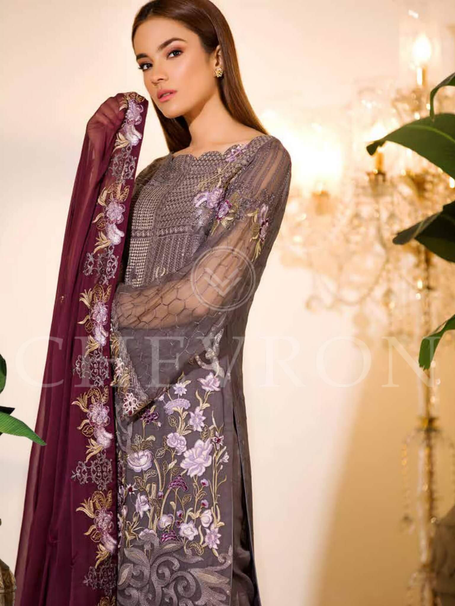 Ramsha Chevron Luxury Chiffon Vol-1 Embroidered 3Pc Suit A-103 - FaisalFabrics.pk
