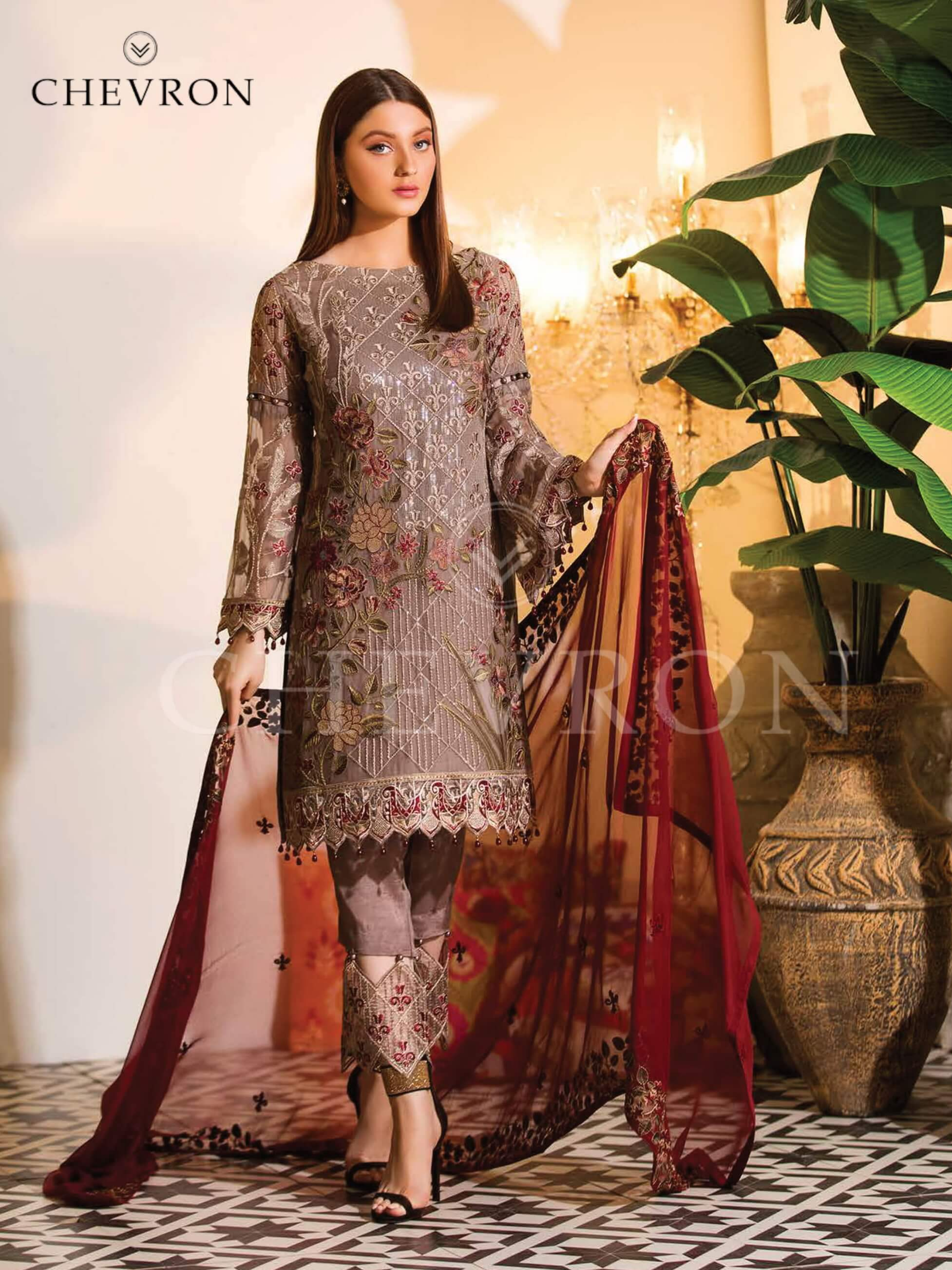 Ramsha Chevron Luxury Chiffon Vol-1 Embroidered 3Pc Suit A-106 - FaisalFabrics.pk