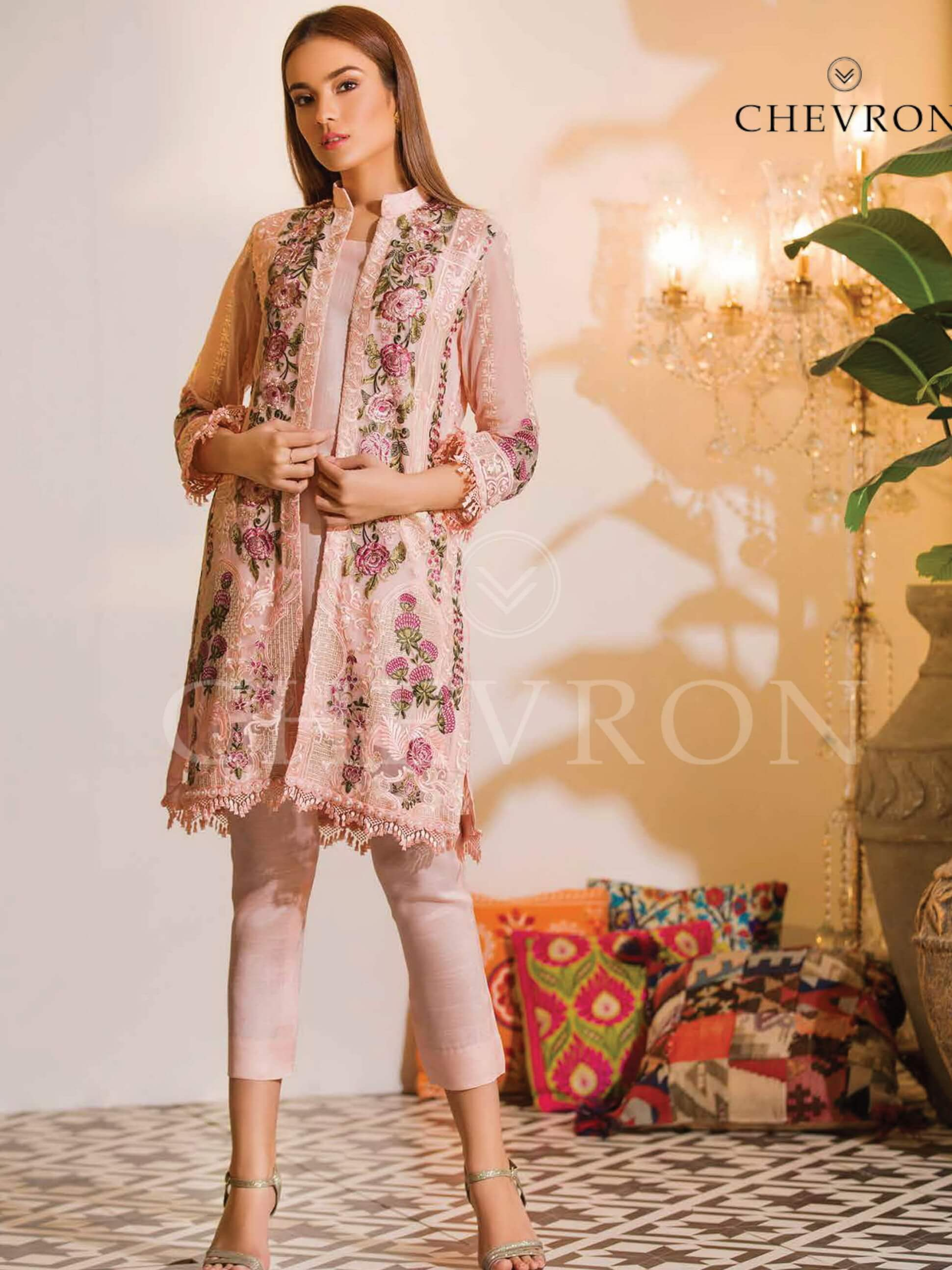 Ramsha Chevron Luxury Chiffon Vol-1 Embroidered 3Pc Suit A-108 - FaisalFabrics.pk