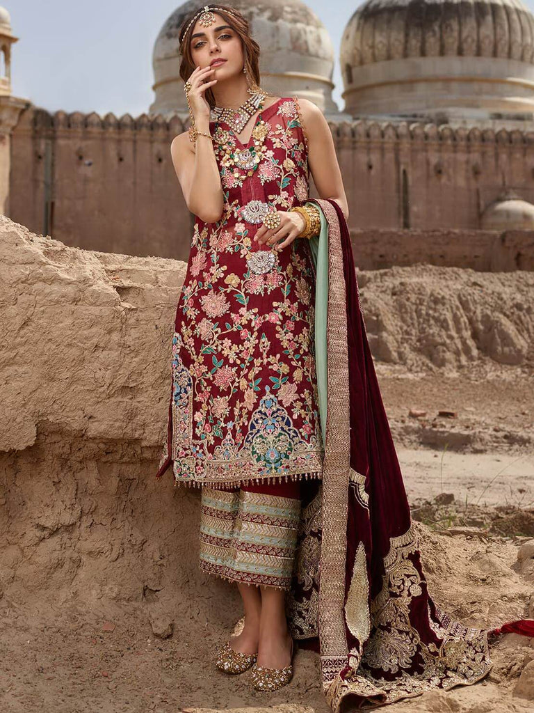 CRIMSON X Saira Shakira Luxury Collection 19 D-3B KASHMIRI MAROON - FaisalFabrics.pk