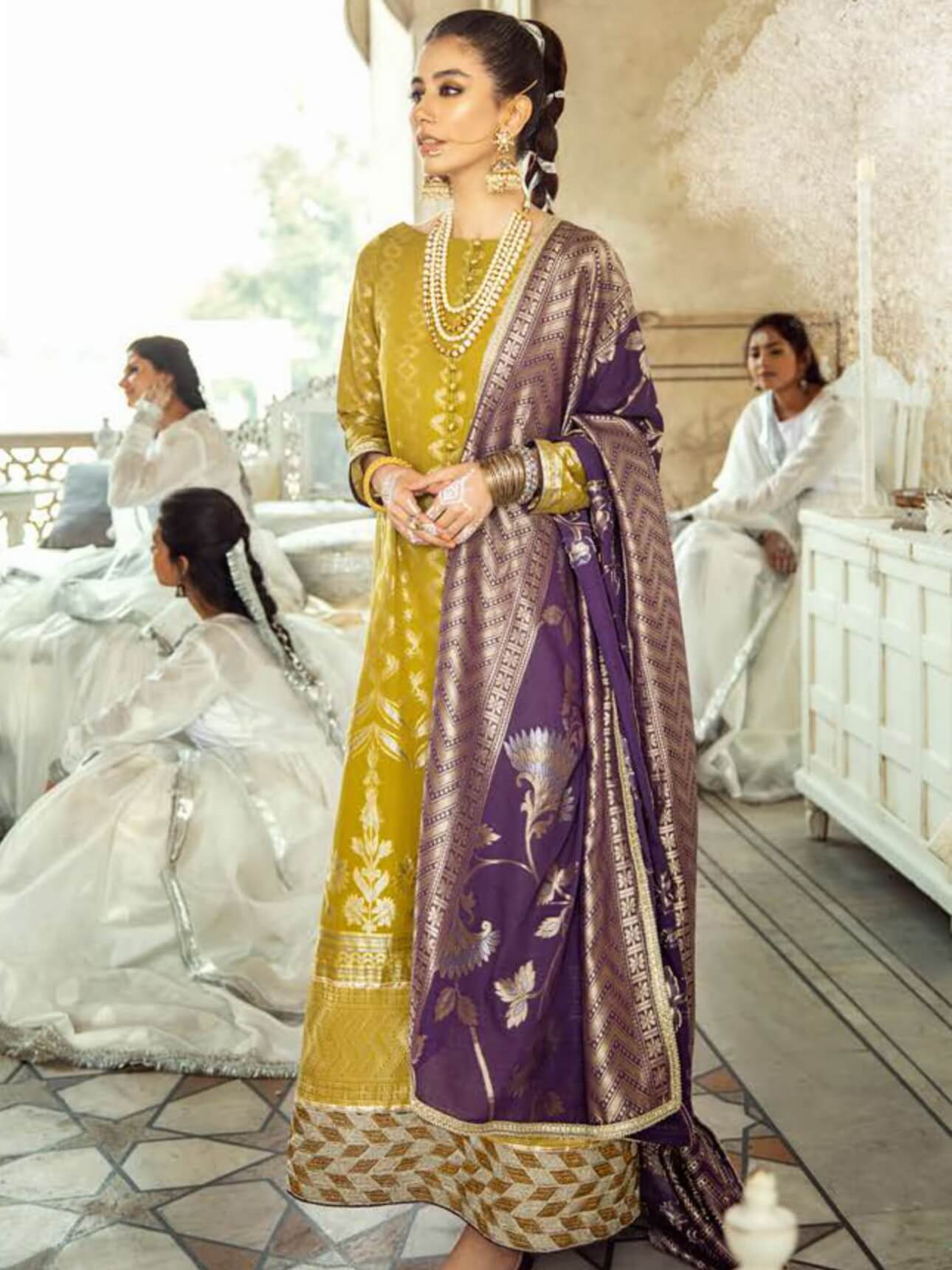 Cross Stitch Luxury Lawn Sheesh Mahal 3PC Suit CS-15 SABZ-0-KHAAM - FaisalFabrics.pk