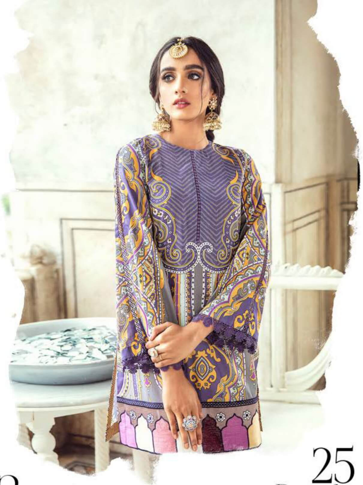 Cross Stitch Luxury Lawn Sheesh Mahal 2PC Suit CS-25 PURPLE GLAZE - FaisalFabrics.pk
