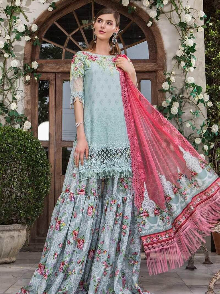 5e654d8f8a Maria B Lawn Eid Collection 2019 3PC Embroidered Suit D 601 Sea Green