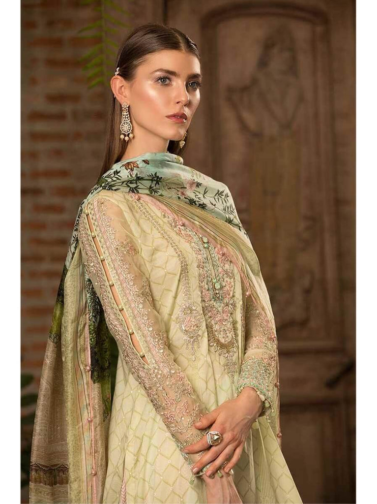 Maria B Lawn Eid Collection 2019 3PC Embroidered Suit D 608 Pistachio Green