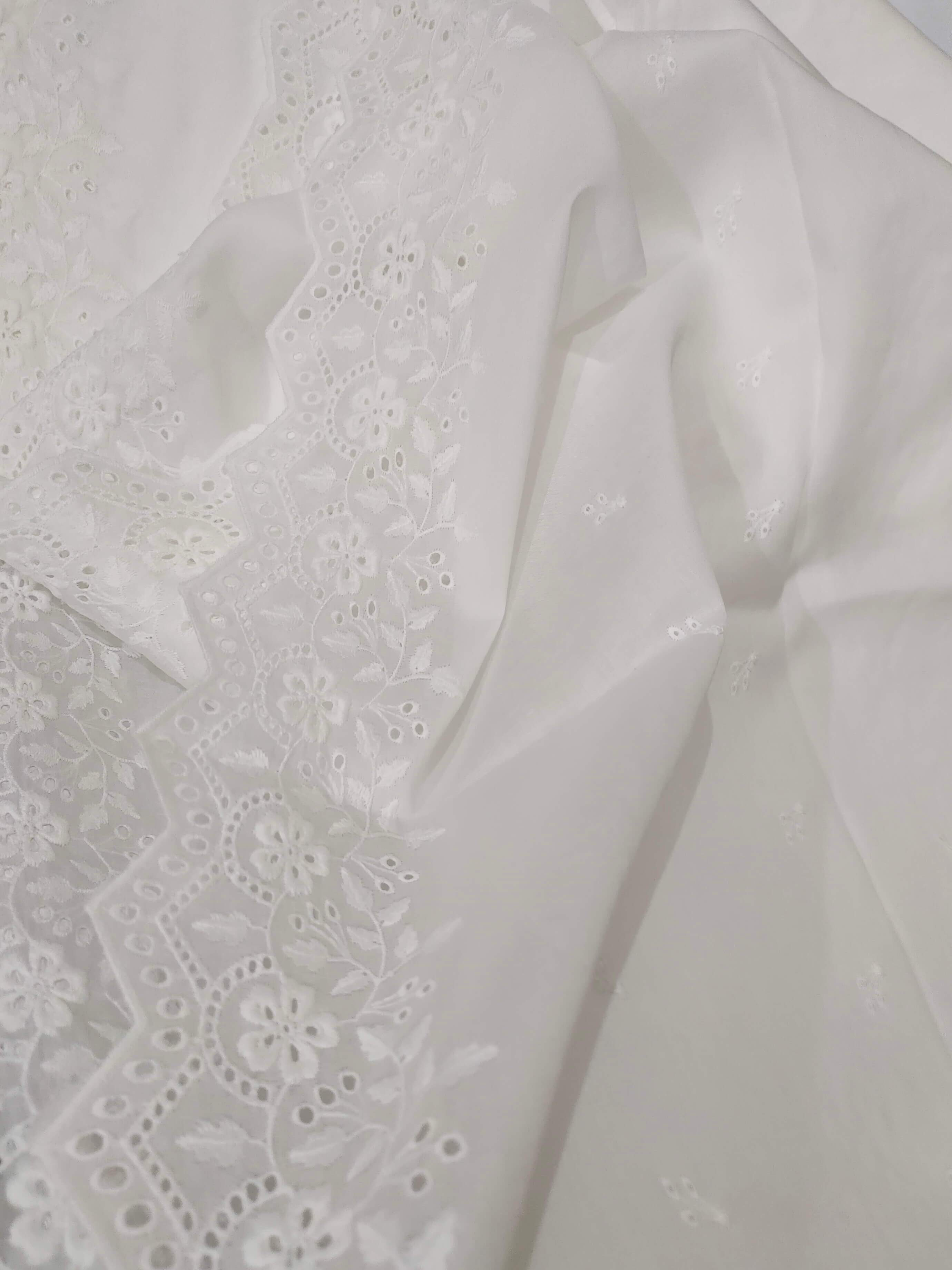 White Chikankari Embroidered Shawl Cotton Lawn Fabric DP-02 - FaisalFabrics.pk