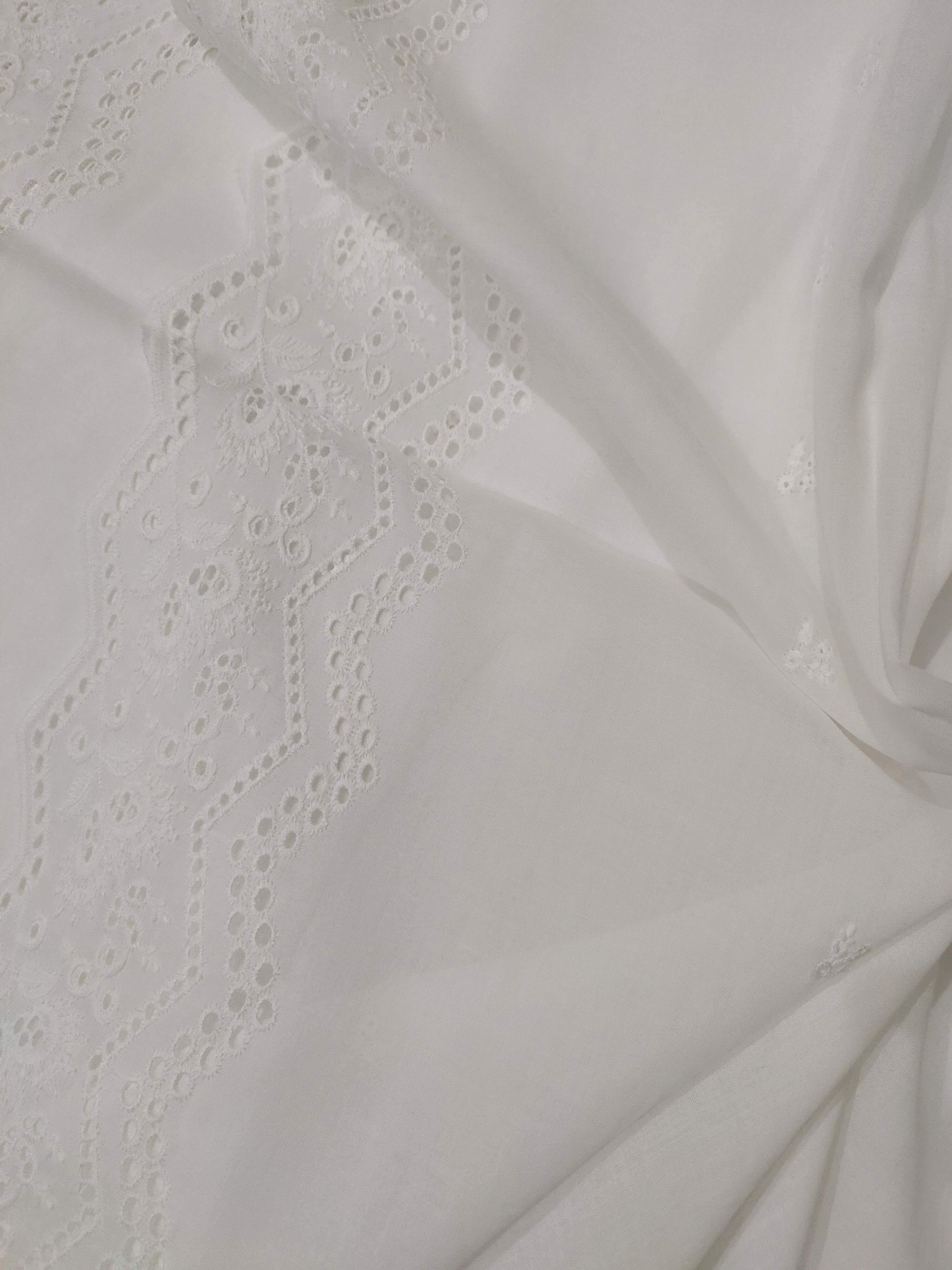 White Chikankari Embroidered Shawl Cotton Lawn Fabric DP-09 - FaisalFabrics.pk