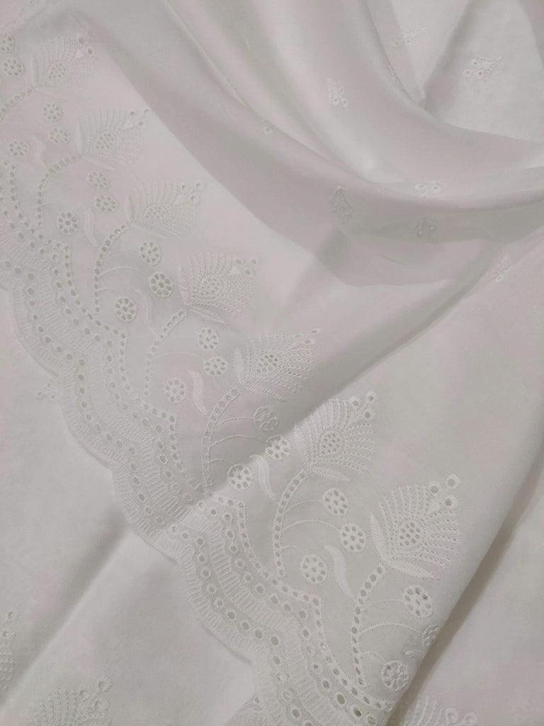 White Chikankari Embroidered Shawl Cotton Lawn Fabric DP-10 - FaisalFabrics.pk