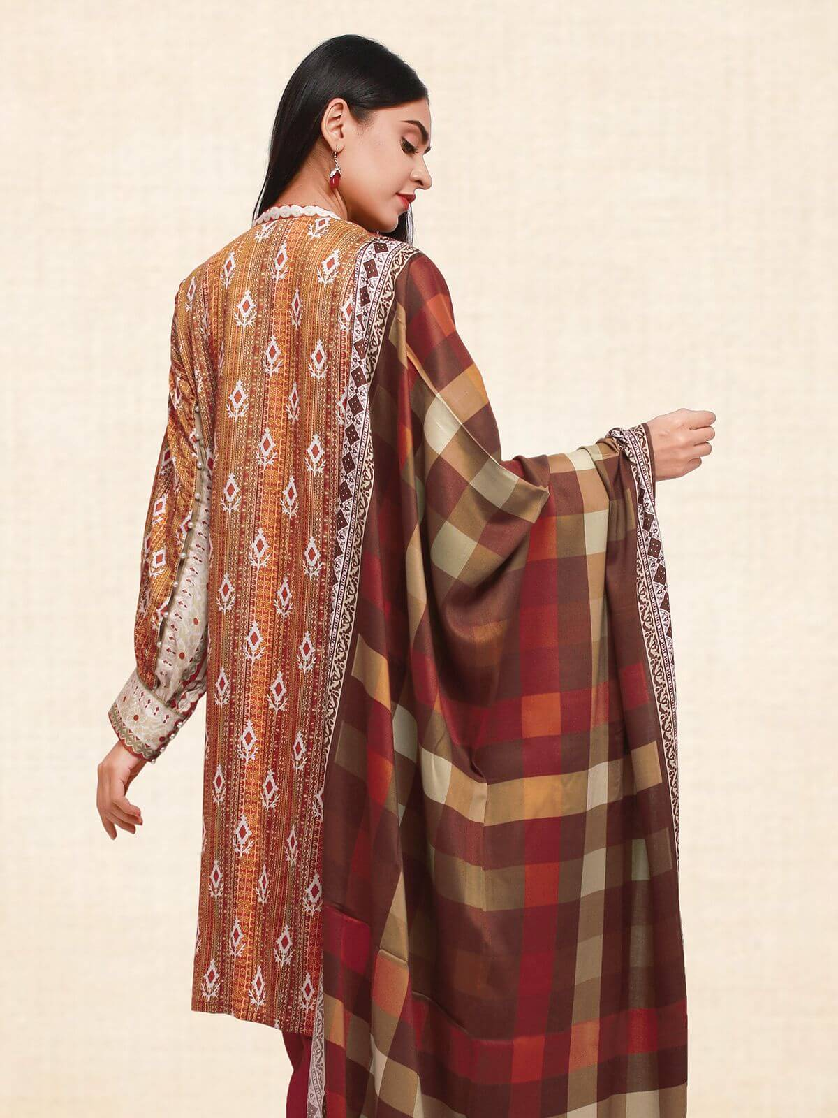 edenrobe Winter Collection Printed Twill Viscose Linen 3Pc Suit 20137