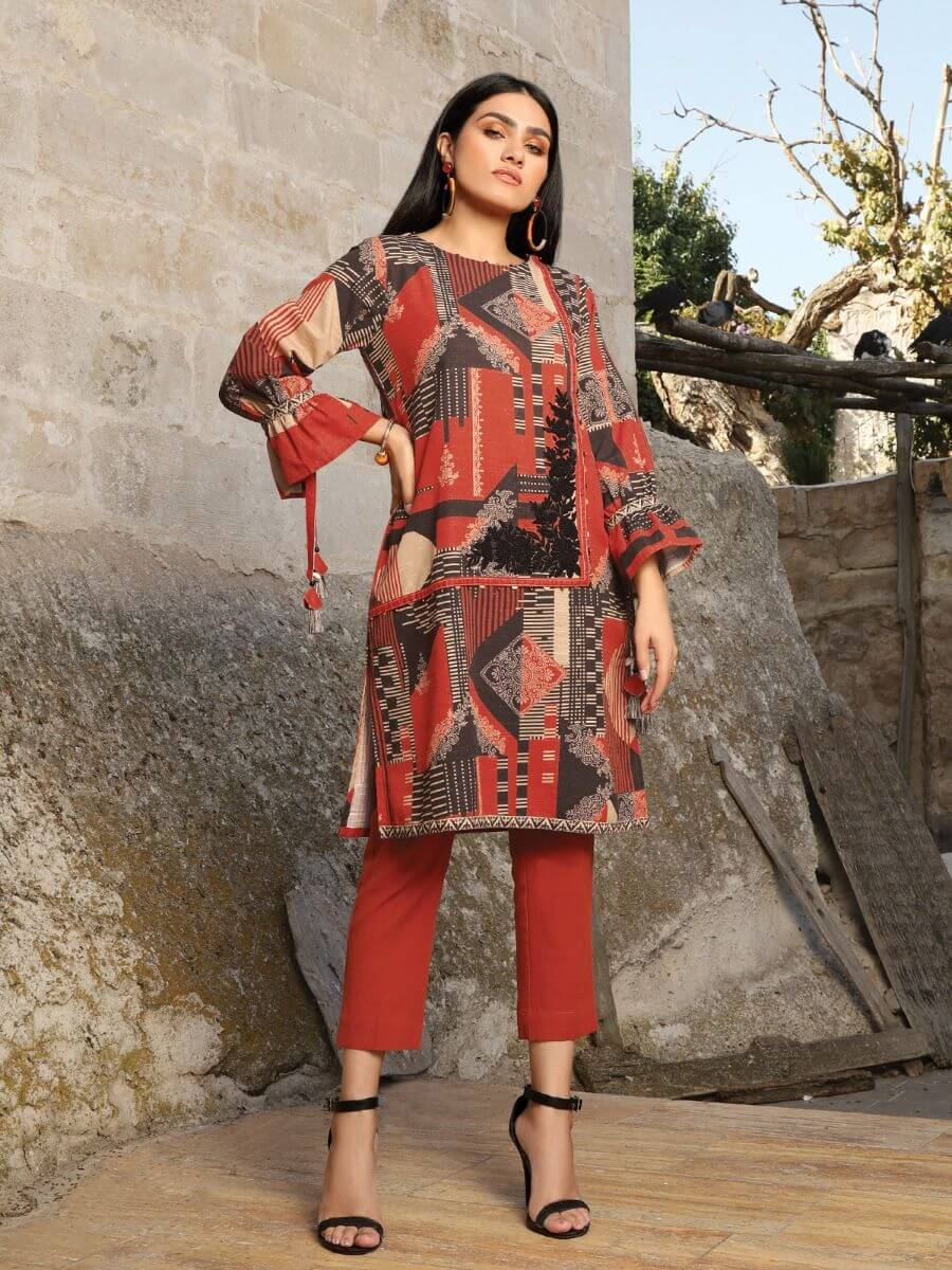 edenrobe Winter Collection Embroidered Khaddar Shirt EWU20W12-20190