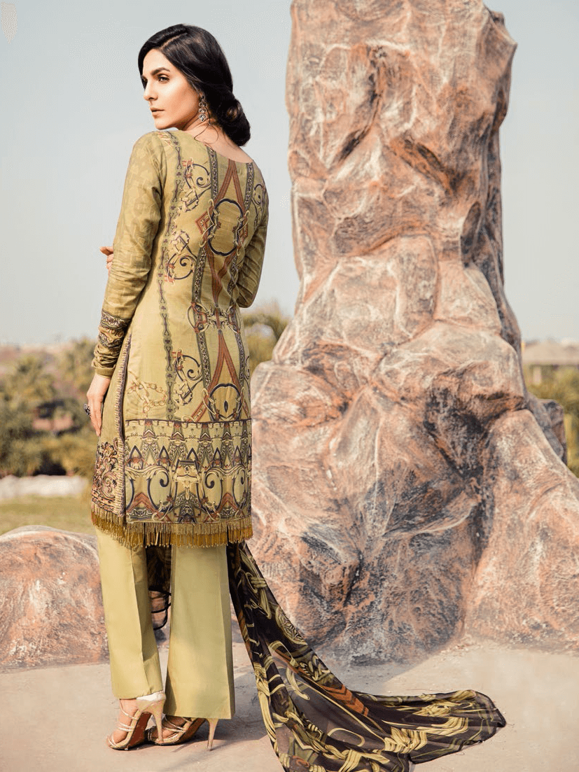 Iznik Chinon Embroidered Lawn 2019 Unstitched 3PC Suit Iz 02 Earthy Fawn - FaisalFabrics.pk