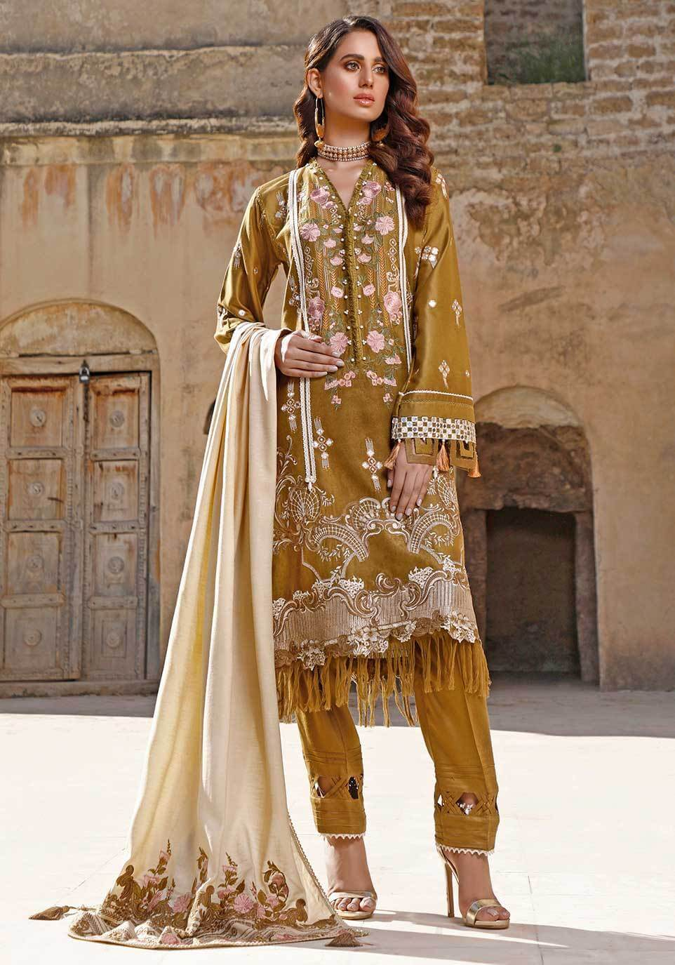 Elaf Premium Luxury Embroidered Self Linen Unstitched 3Pc Suit EW-03