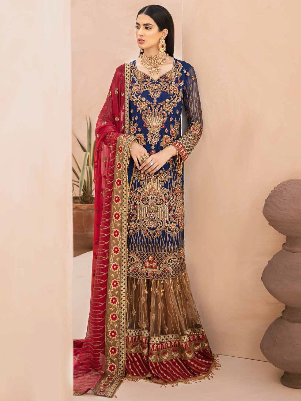 EMAAN ADEEL Elegant Bridal Collection Vol-3 Embroidered 3PC Suit EA-306 - FaisalFabrics.pk