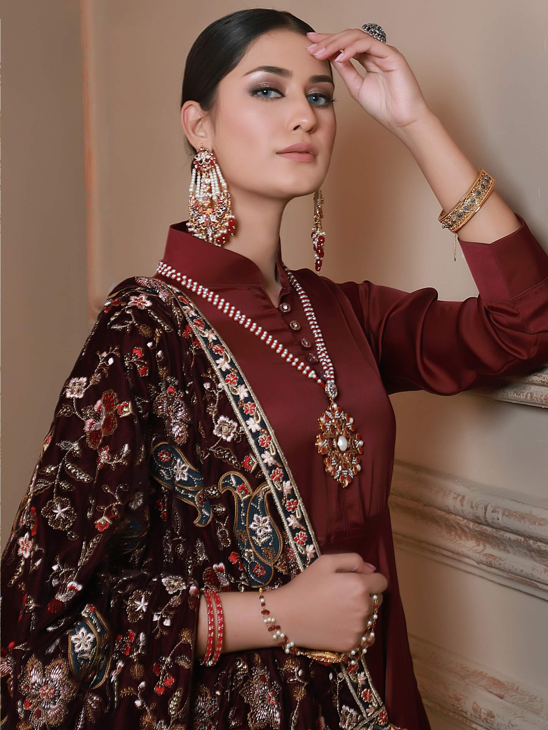 Emaan Adeel Luxury Embroidered Velvet Shawl Edition S-106