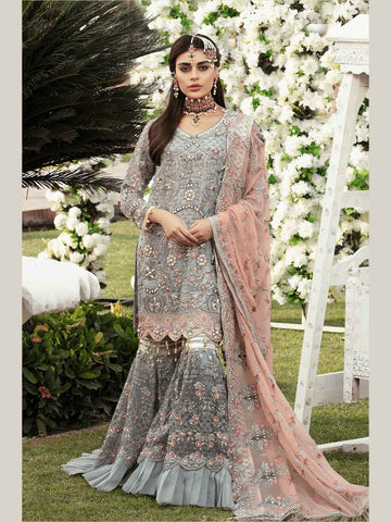 Emaan Adeel Bridal Collection Chiffon Unstitched 3 Piece Suit EA-204 - FaisalFabrics.pk