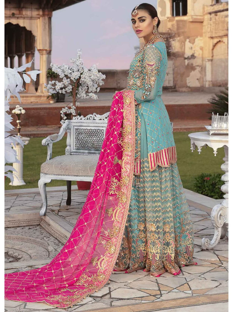 Emaan Adeel Bridal Collection Chiffon Unstitched 3 Piece Suit EA-206 - FaisalFabrics.pk