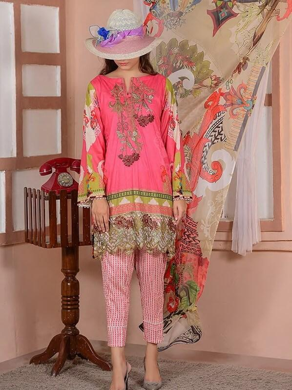 EshaEshaal Lawn Collection 2020 Schiffli Embroidered 3PC Suit 1991-B - FaisalFabrics.pk