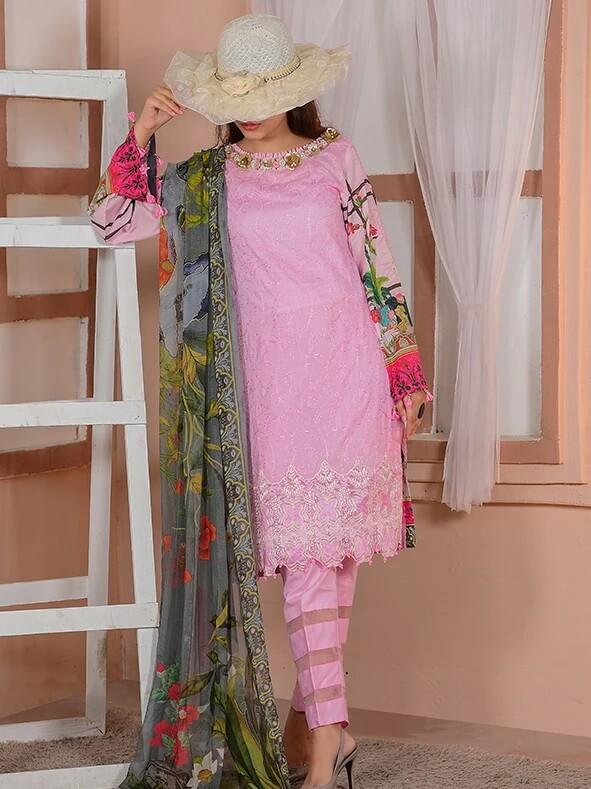 EshaEshaal Lawn Collection 2020 Schiffli Embroidered 3PC Suit 1992-B - FaisalFabrics.pk