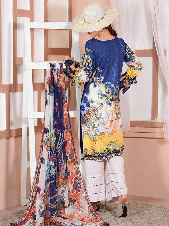 EshaEshaal Lawn Collection 2020 Schiffli Embroidered 3PC Suit 1993-A - FaisalFabrics.pk