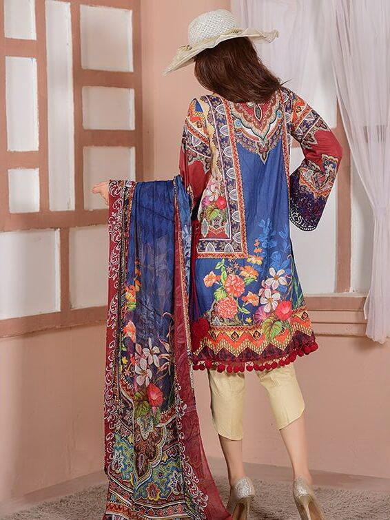 EshaEshaal Lawn Collection 2020 Schiffli Embroidered 3PC Suit 1995-A - FaisalFabrics.pk