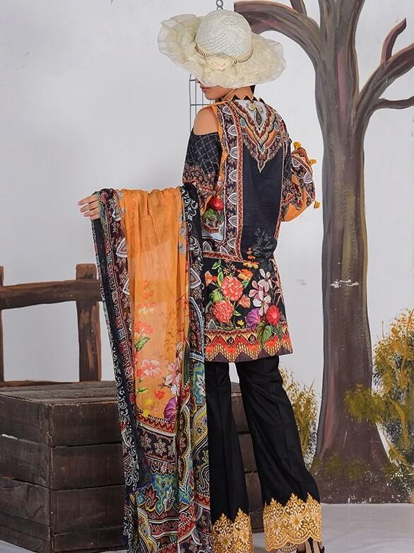 EshaEshaal Lawn Collection 2020 Schiffli Embroidered 3PC Suit 1995-B - FaisalFabrics.pk
