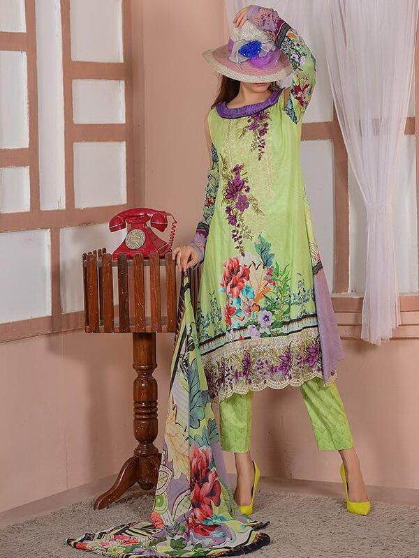 EshaEshaal Lawn Collection 2020 Schiffli Embroidered 3PC Suit 2000-B - FaisalFabrics.pk