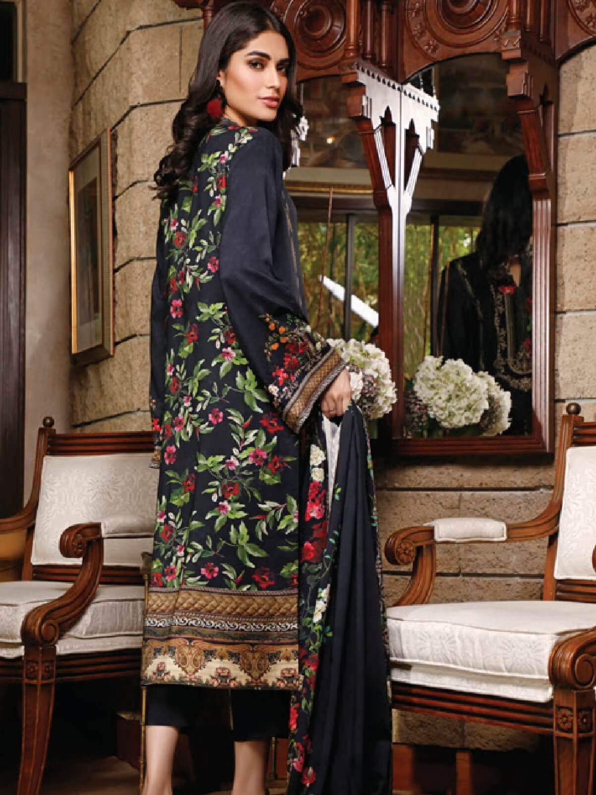 Firdous Digital Printed Winter Linen Unstitched 3pc Suit D-801