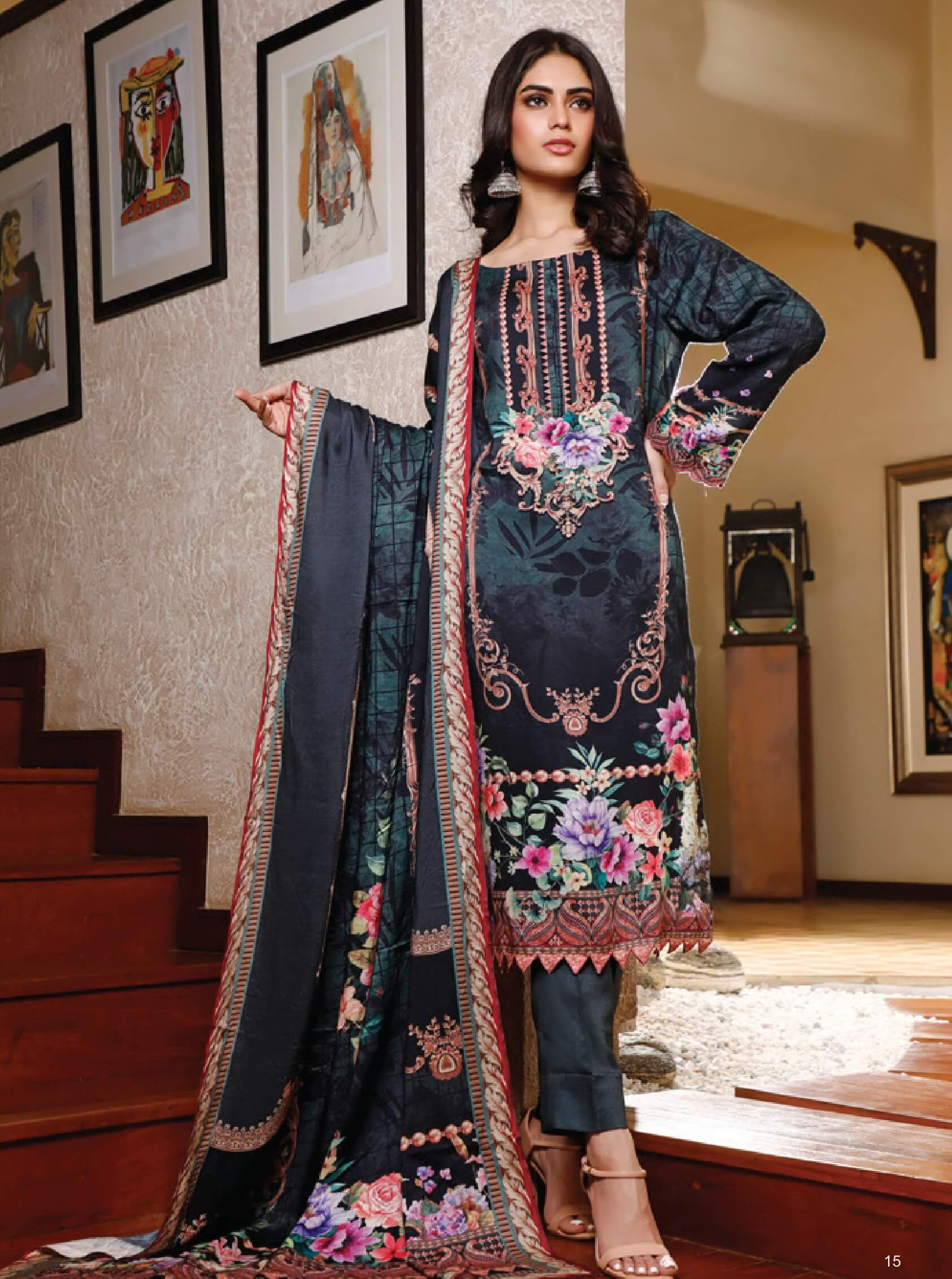 Firdous Digital Printed Winter Linen Unstitched 3pc Suit D-804B