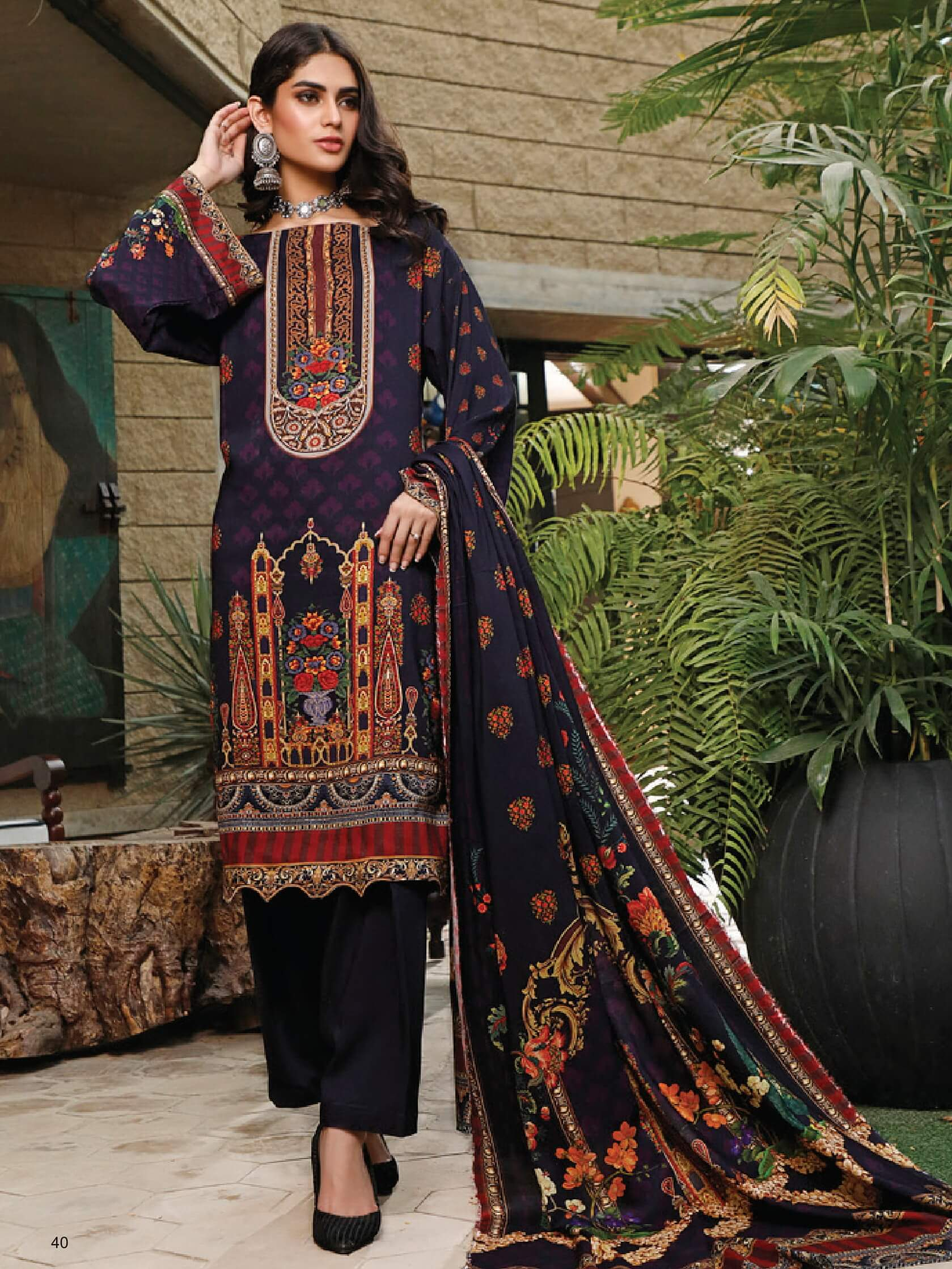 Firdous Digital Printed Winter Linen Unstitched 3pc Suit D-809A