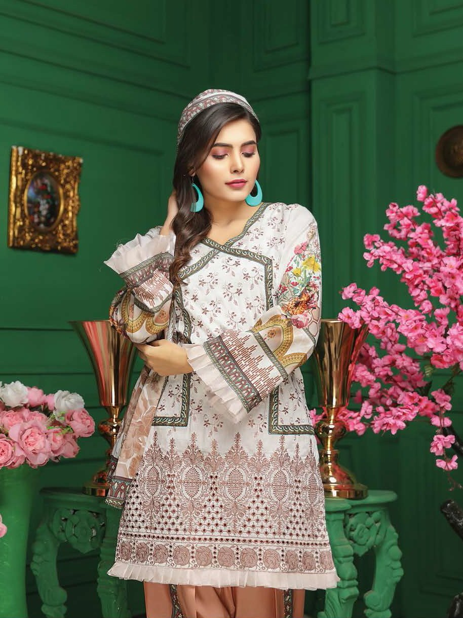 Fabura Embroidered Chikankari Lawn Collection 2020 3PC Suit FAB-02 - FaisalFabrics.pk