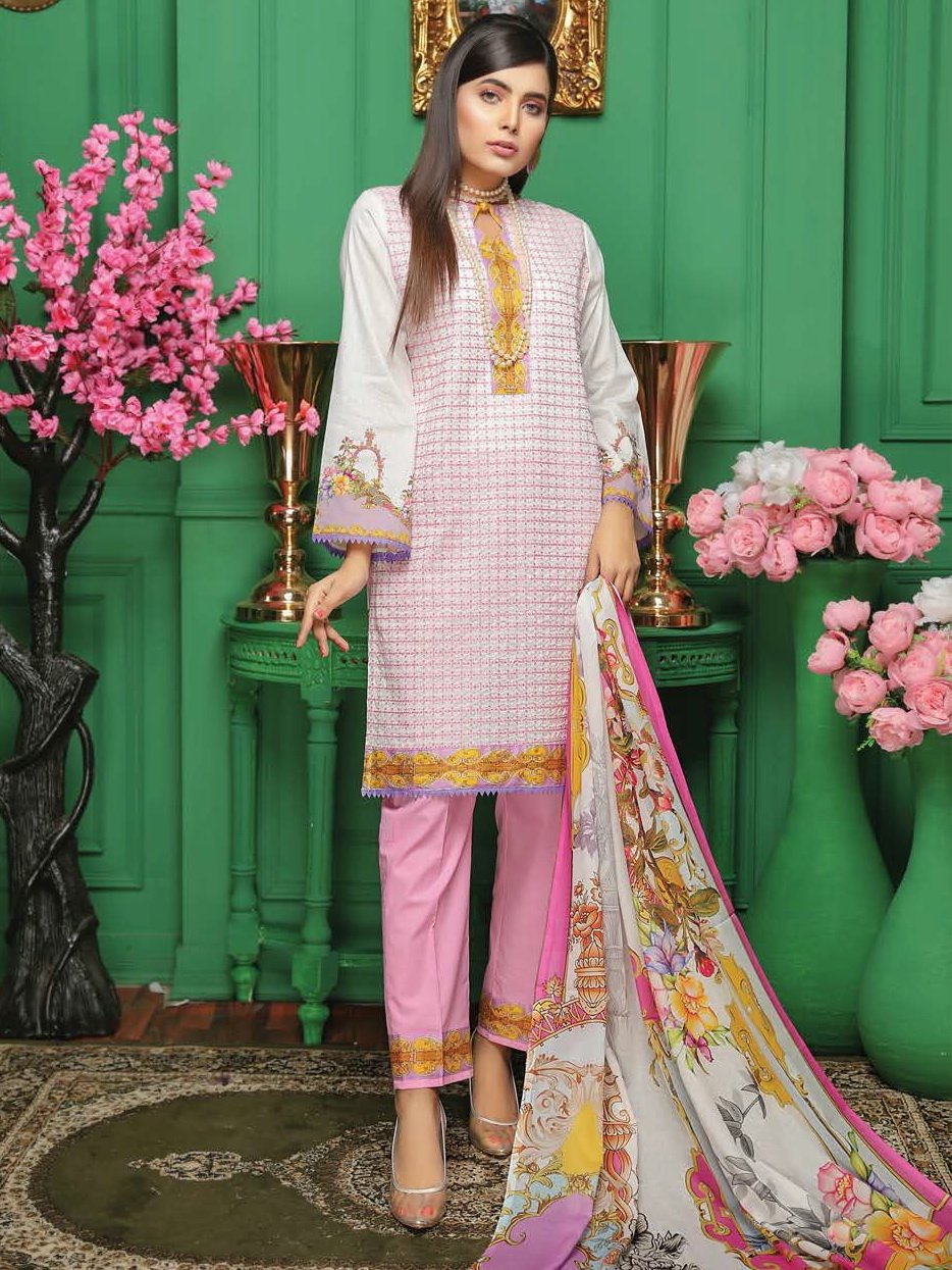 Fabura Embroidered Chikankari Lawn Collection 2020 3PC Suit FAB-08 - FaisalFabrics.pk