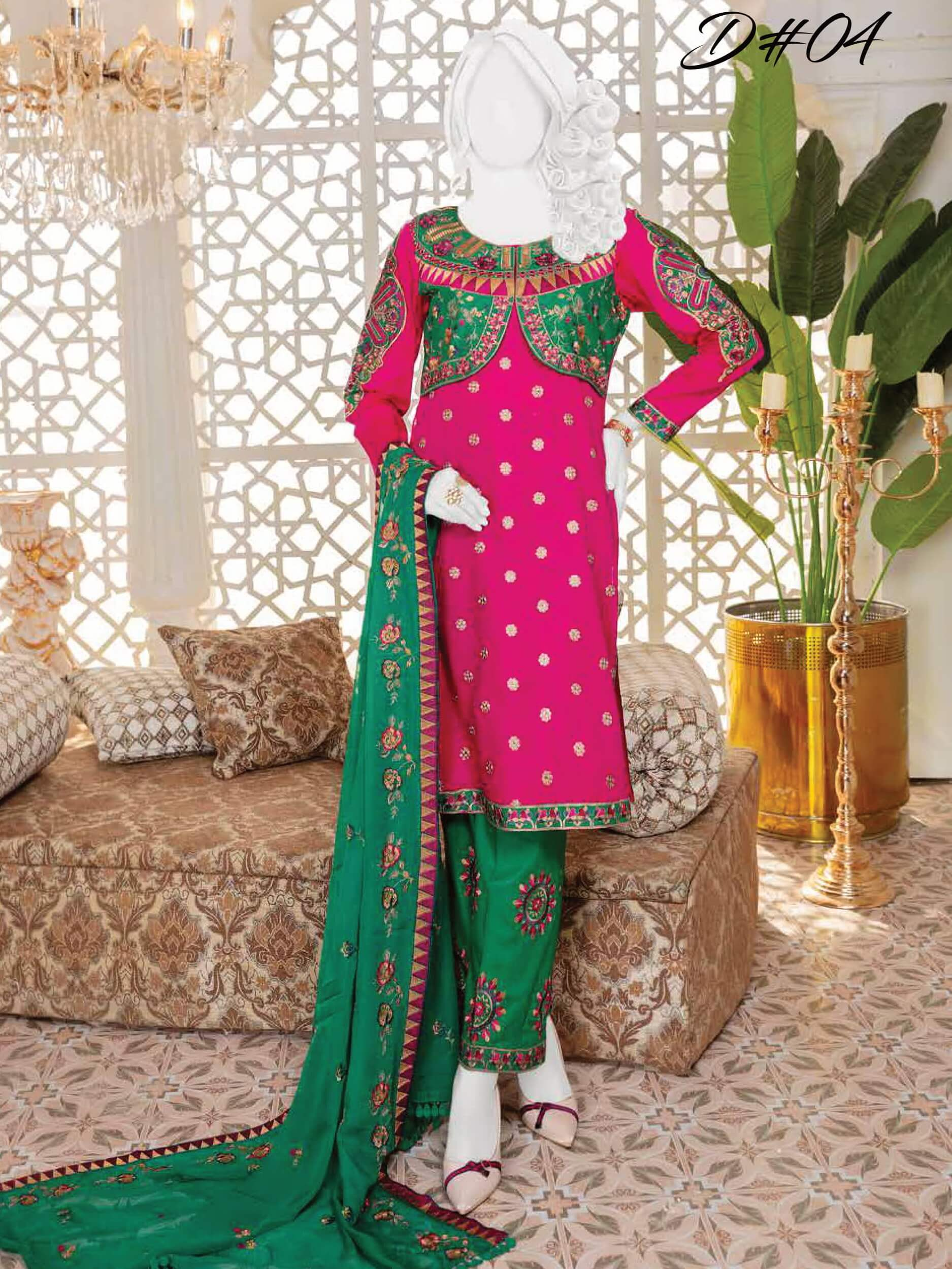 Fashion Velley Luxury Embroidered Lawn Collection 2020 3pc Suit D-04 - FaisalFabrics.pk