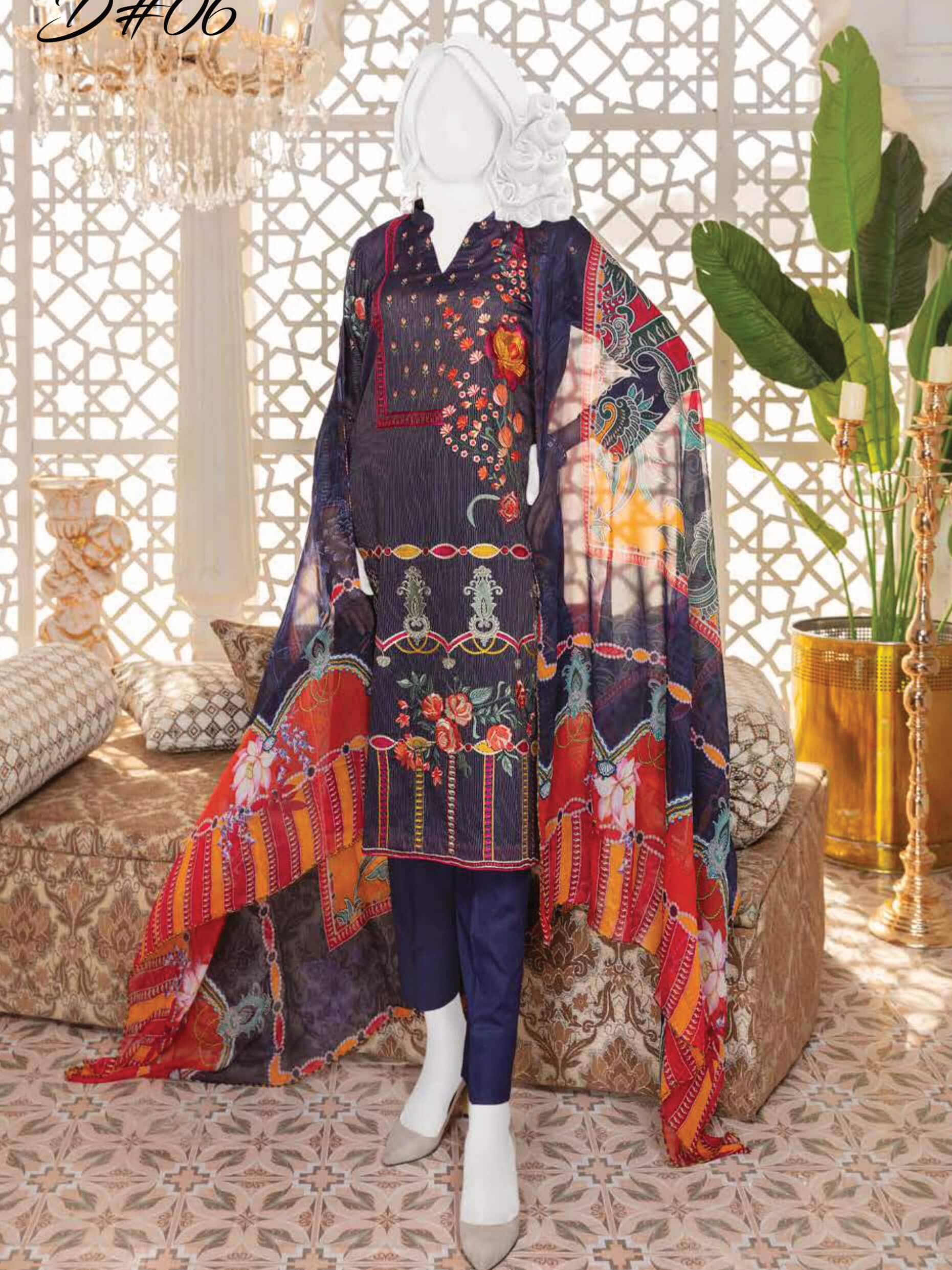 Fashion Velley Luxury Embroidered Lawn Collection 2020 3pc Suit D-06 - FaisalFabrics.pk