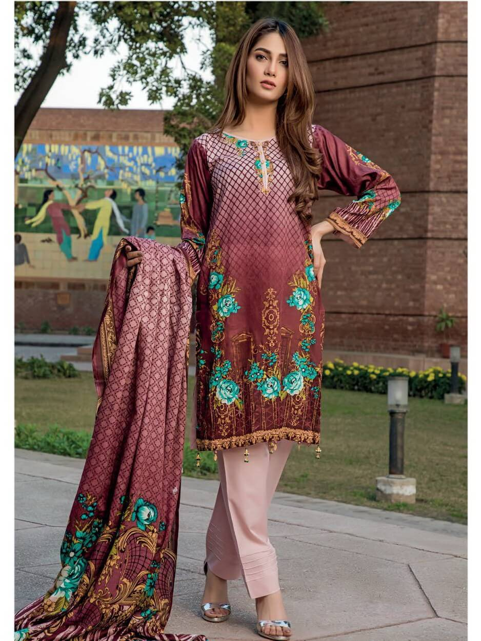 Firdous Lawn Collection 2019 Unstitched 3Pc Printed Suit B 202 - FaisalFabrics.pk