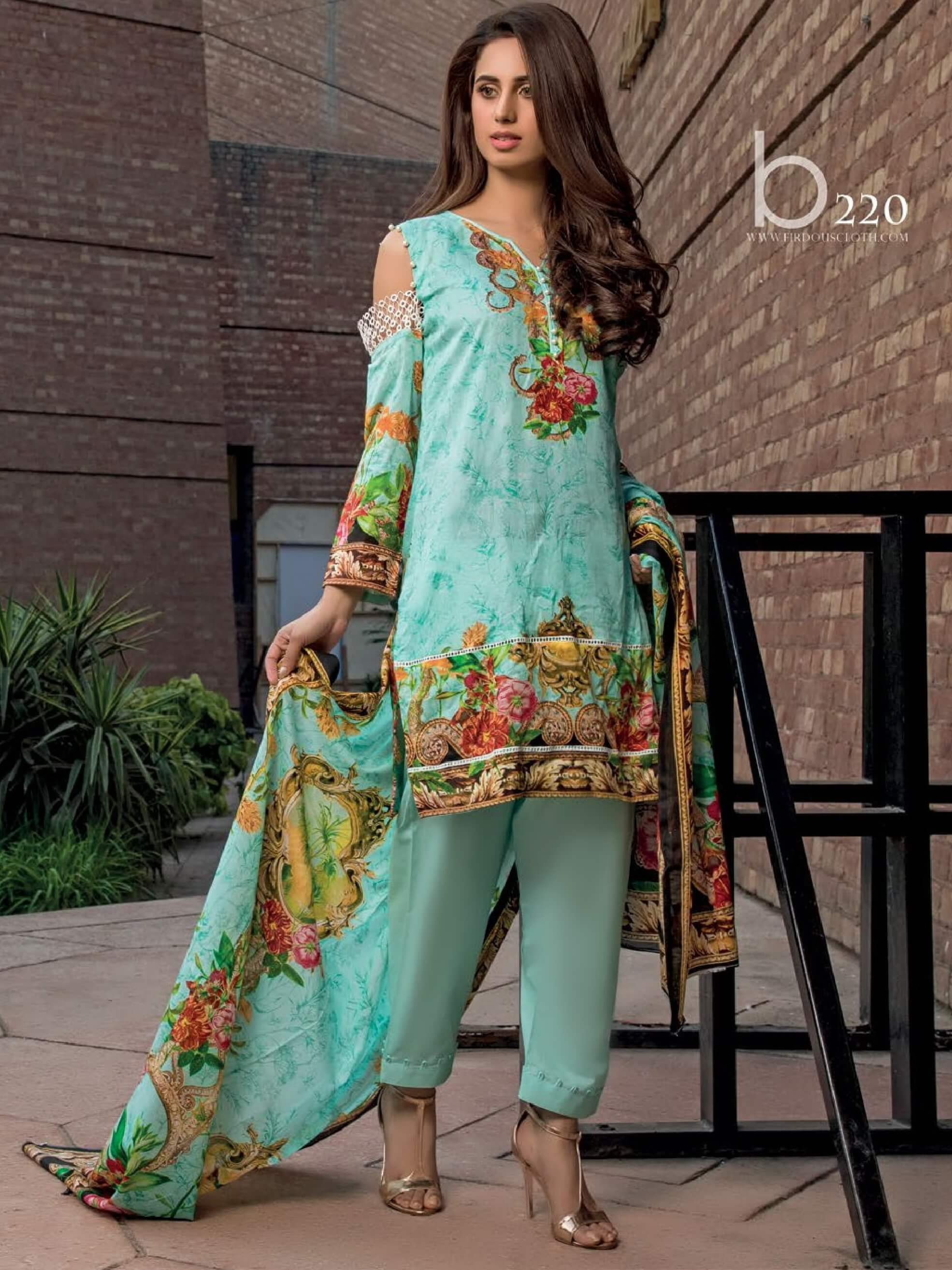 Firdous Lawn Collection 2019 Unstitched 3Pc Printed Suit B 220 - FaisalFabrics.pk