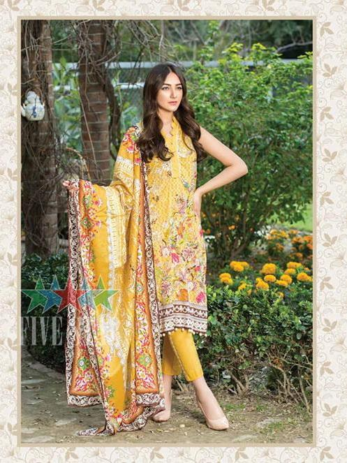 Five Star Devin Printed Lawn Summer 2019 Unstitched 3PC Suit D 001 A - faisalfabrics-pk