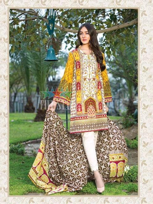 Five Star Devin Printed Lawn Summer 2019 Unstitched 3PC Suit D 002 B - FaisalFabrics.pk
