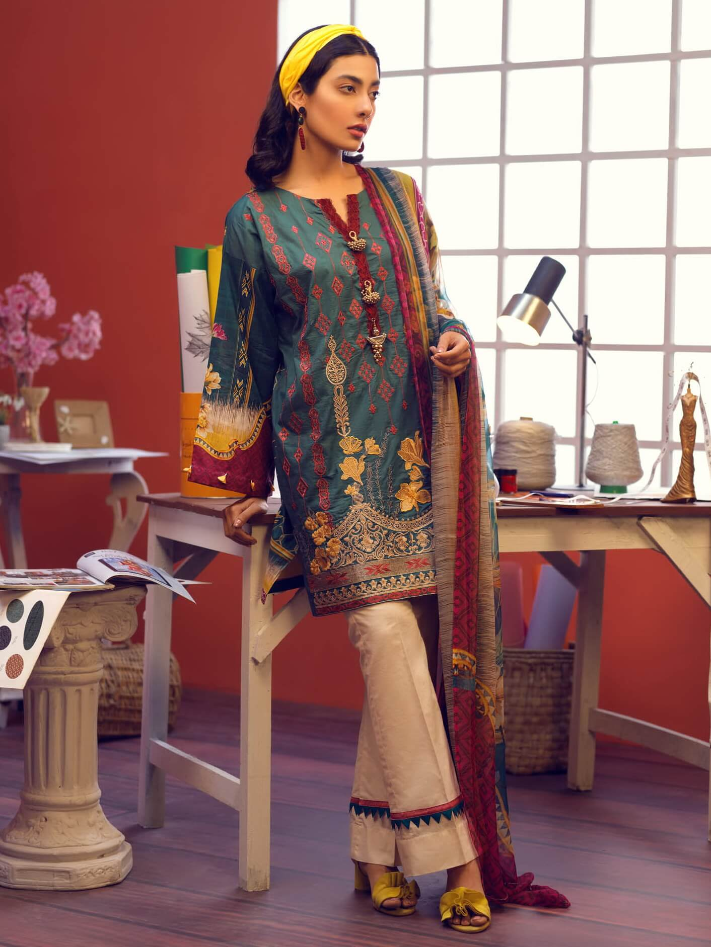 Florent Luxury Embroidered Lawn 2019 Unstitched 3 Piece Suit 7A - FaisalFabrics.pk