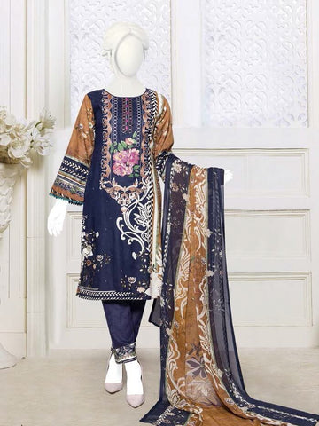 Zoha Premium Embroidered Lawn Collection 2020 3pc Suit GE-1703 A - FaisalFabrics.pk