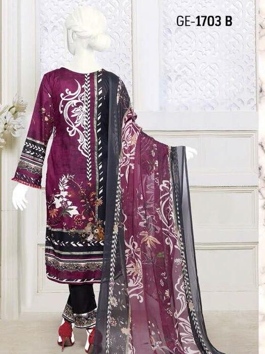 Zoha Premium Embroidered Lawn Collection 2020 3pc Suit GE-1703 B - FaisalFabrics.pk