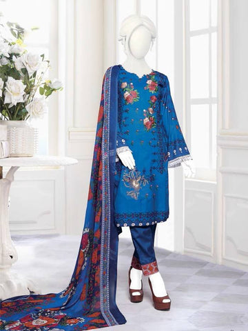 Zoha Premium Embroidered Lawn Collection 2020 3pc Suit GE-1704 B - FaisalFabrics.pk