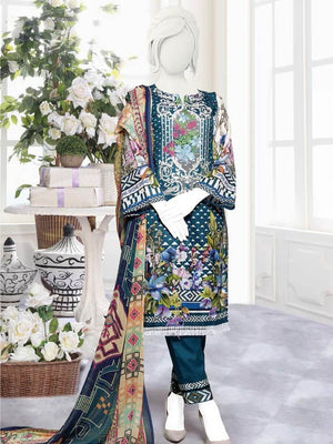 Zoha Premium Embroidered Lawn Collection 2020 3pc Suit GE-1706 B - FaisalFabrics.pk