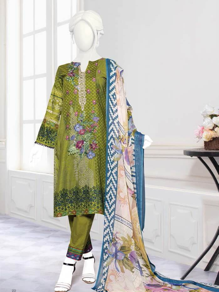 Zoha Premium Embroidered Lawn Collection 2020 3pc Suit GE-1707 A - FaisalFabrics.pk