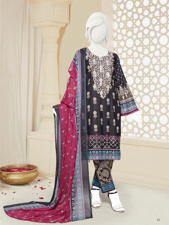 Zoha Premium Embroidered Lawn Collection 2020 3pc Suit GE-1717 - FaisalFabrics.pk